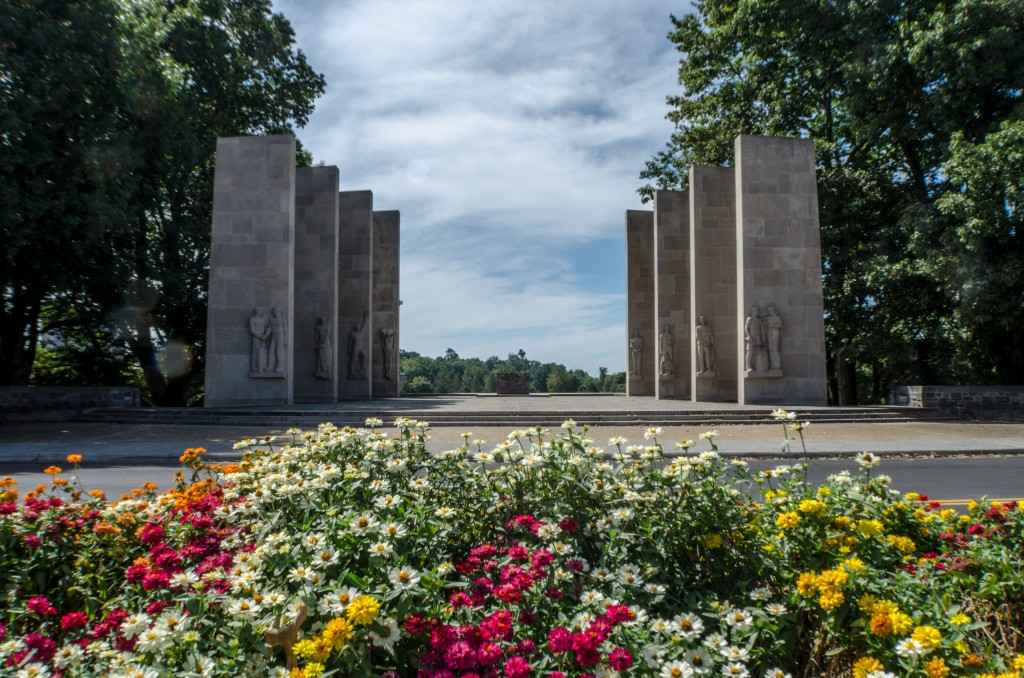 A photo of the pylons on Virginia Tech's campus.