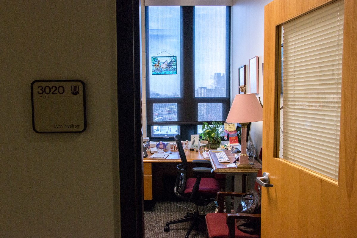 Inside Lynn Nystrom's office. Photo by Erica Corder.
