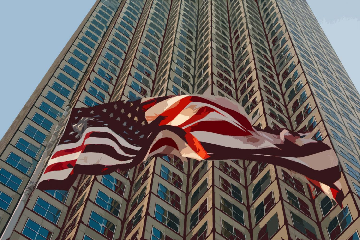 A photo illustration of a flag waving in front of a skyscraper.