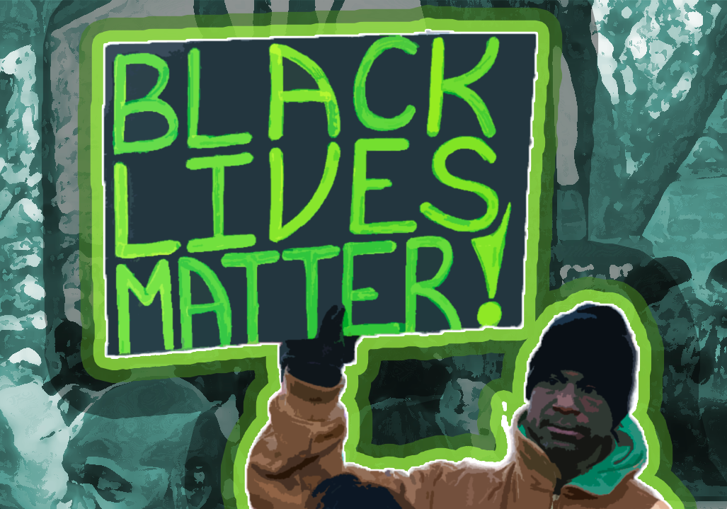 "An illustration of a man holding a ""Black Lives Matter"" sign at a peaceful protest."