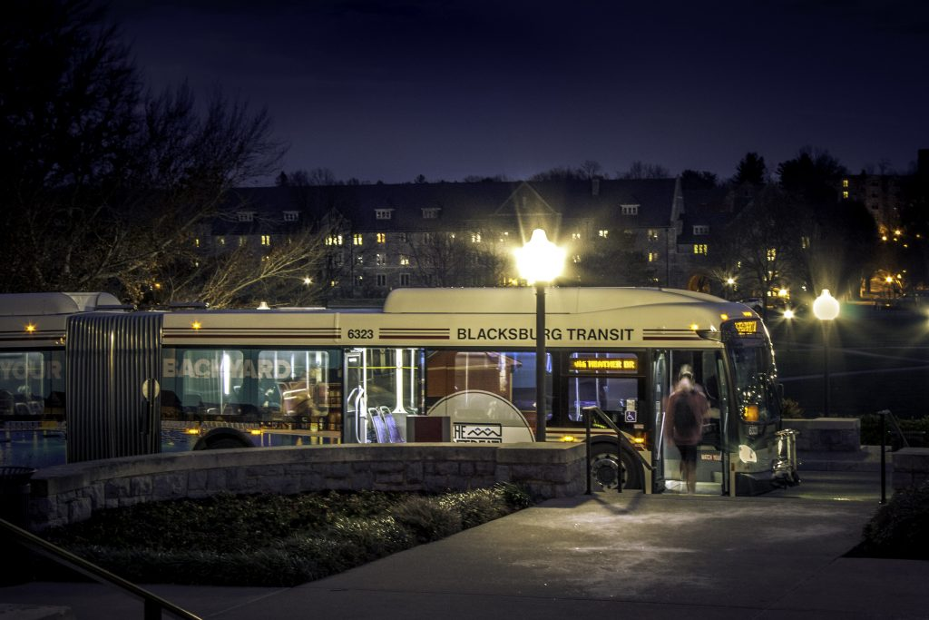 A Blacksburg Transit bus on campus