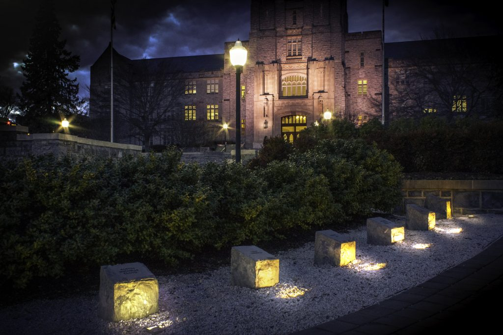Burruss Hall and the April 16 memorial at night
