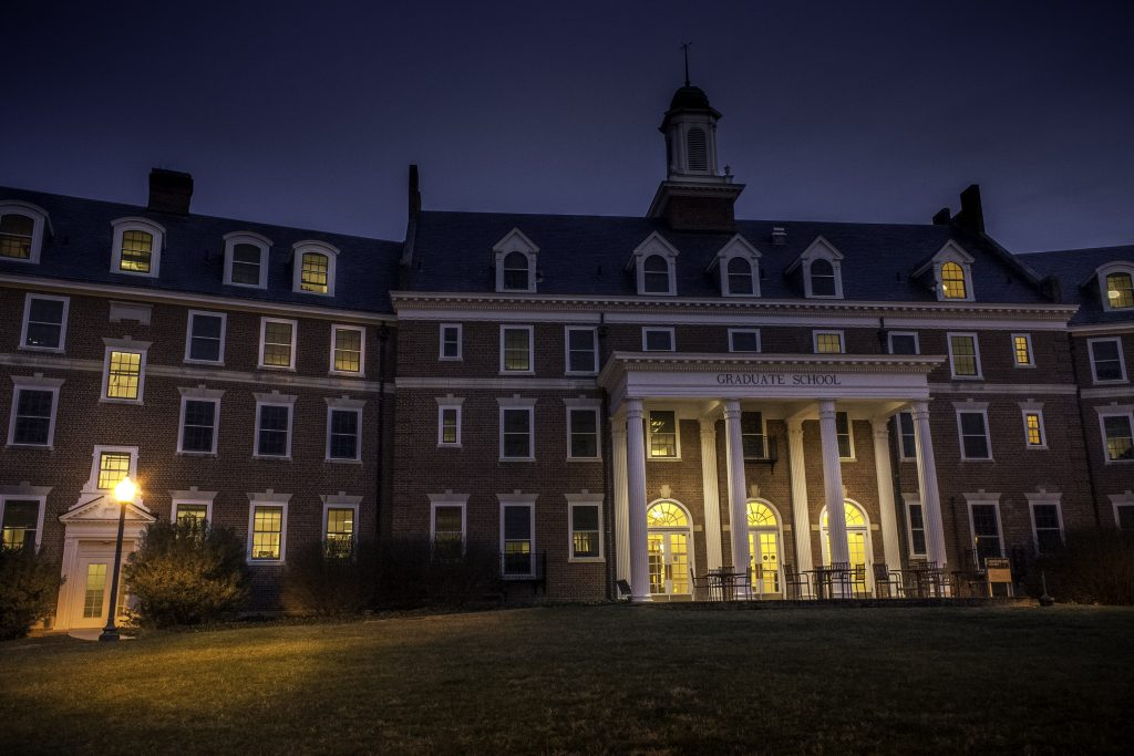 The Graduate Life Center at night