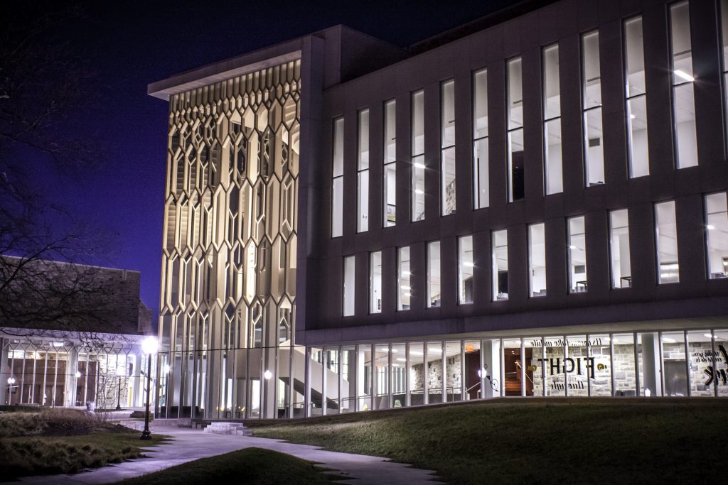 The Moss Arts Center at night